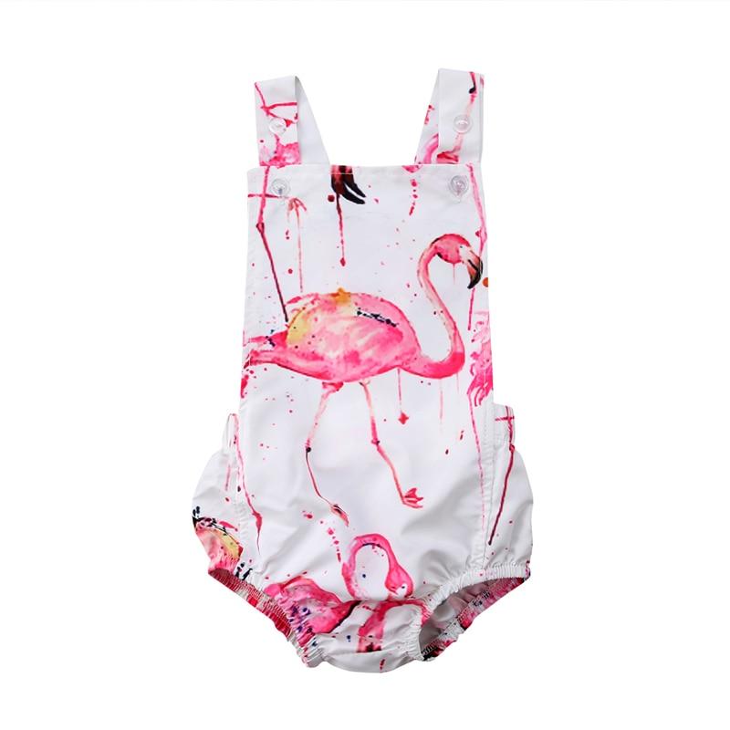 8ab066804fa09 New Baby Girl Clothing Cotton Infantil Baby Girl Flamingo Bodysuits Newborn  Clothes Baptism Para Bebe Roupas Backless Playsuit