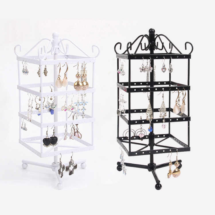 TONVIC White/Black Rotating Metal Earring Display Stand Holder Rack For 128 Holes