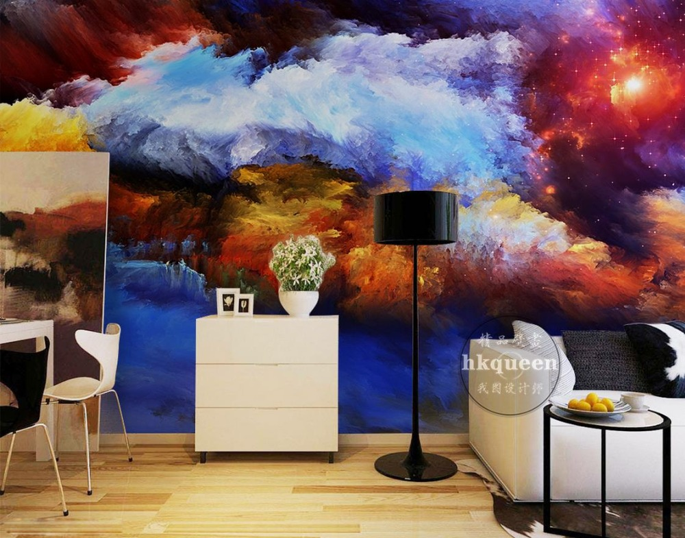 Custom modern wall paper Star sky clouds sea gorgeous KTV background wall papers home decor 3d wall murals wallpaper murals wall paper modern art top beach deep blue sea water ripples swim dolphins home decor ceiling large wall mural wallpaper