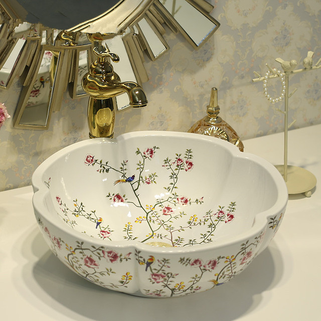 Round Bathroom Counter Top Wash Basin Cloakroom Hand Painted Vessel Sink Basins