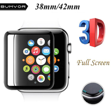 BUMVOR 3D Full Cover Tempered Glass For Apple Watch 42mm Screen Protector 9H Coverage for iWatch Series 3 and 2 1
