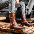 Urban Fashion Young Man Motorcycle Boots Men Punk Style Cool Atutumn Boots 2 Buckles Rivets Lacing Male Martin Boots Size 28-62