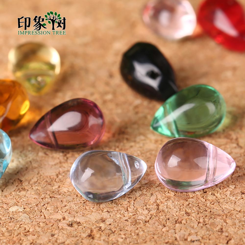 10 Pcs Water Drop Bead Pendant Glass Necklace Jewelry  Handmade Making 14x8mm