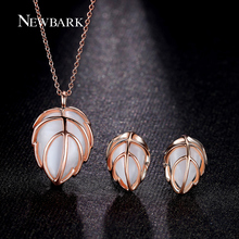 NEWBARK Leaf Jewelry Sets For Women Water Drop Opal Leaves Pendant 2 Colors Pink Milky Necklace + Earrings Parure Bijoux Femme