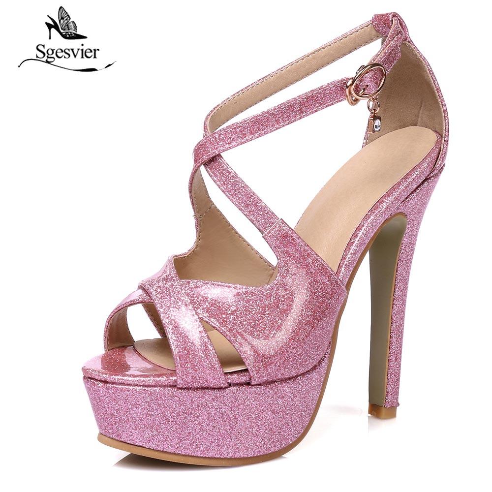 silver Sgesvier red Donna Tacco Sottile 13 48 30 Estate Partito Calzature Toe Peep Primavera Size Gold 2018 Alto Scarpe Femminile Cm Nuova Sandali Plus B368 pink 4nCqw4xrS