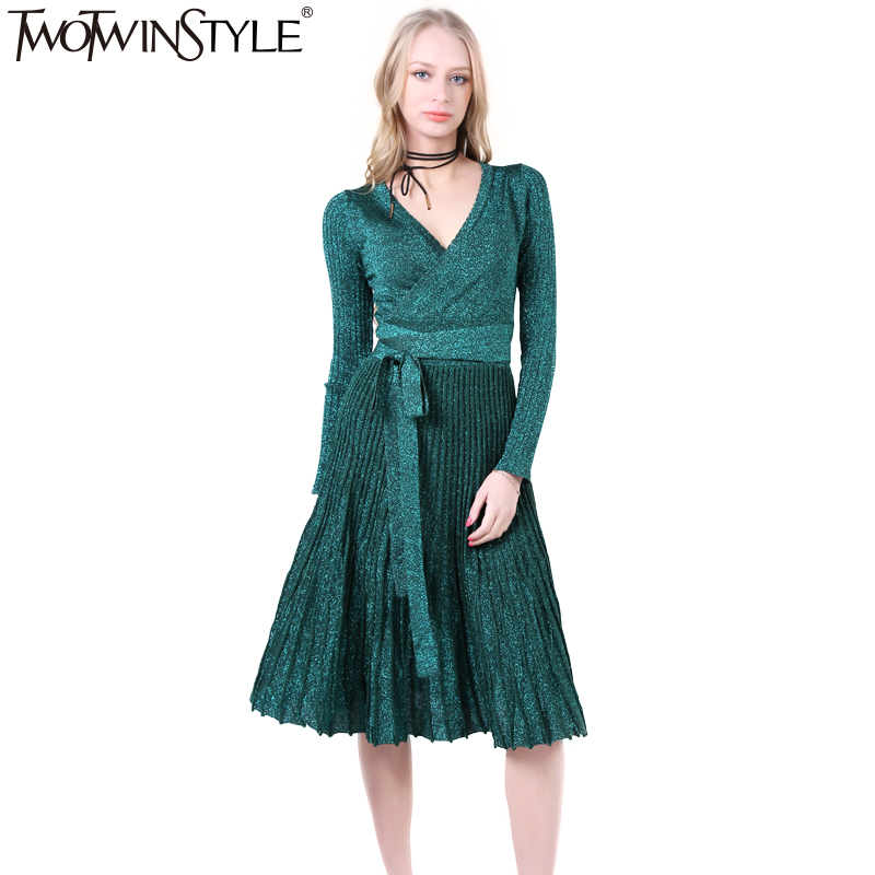 TWOTWINSTYLE 2019 Women Lace up Pleated Flare Midi Party Dresses Sexy V Neck Long Sleeve Vintage Clothes Korean New Black