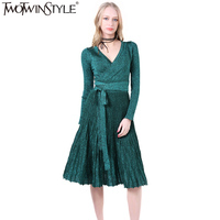TWOTWINSTYLE Spring Pleated Large Hem V Collar High Waist Lace Up Shiner Knitted Elastic Dress