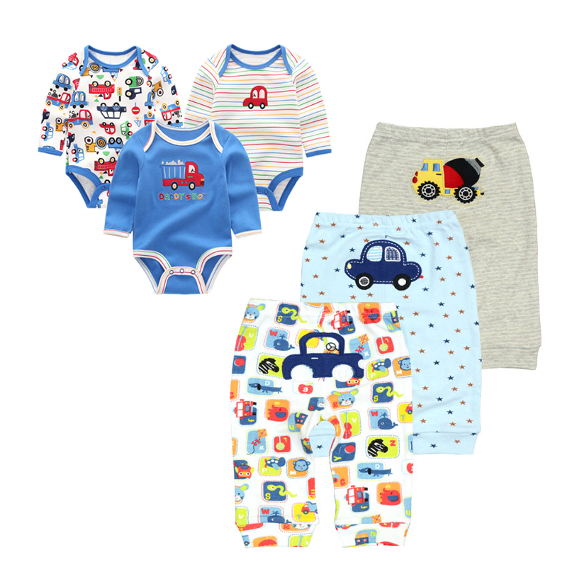 2019 Baby Boy Clothes Long Sleeve Jumpsuit Outwear Baby Bodysuits+pants 6PCS/LOT Roupa Infantil Toddler Sets