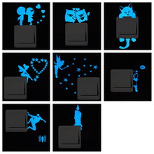 DIY Blue Luminous Paper Stickers Removable Cute Cartoon Wall Switch Sticker forChildren Home StylingAccessories Glow in the Dark