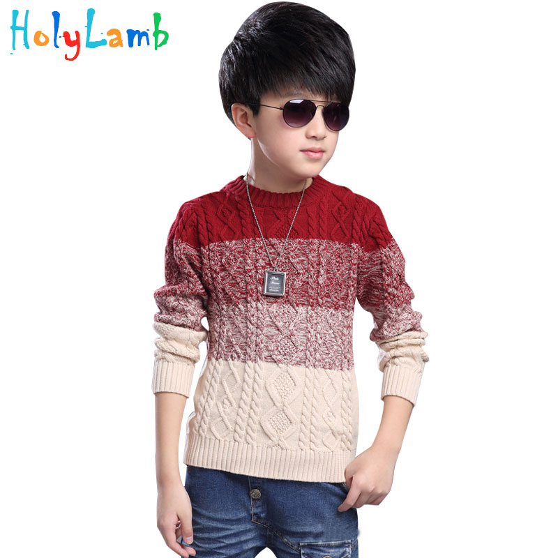 2017 Warm Winter Autumn Boy Sweater Fade Color Kids Knitted Sweaters for Boys Clothes Cotton Boys Sweaters Teenage Boys pink solid color off shoulder crop bodycon sweaters vests