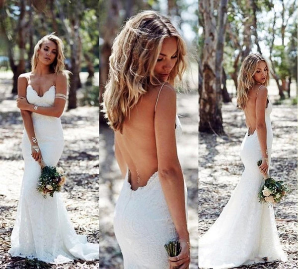 2019 Backless Wedding Dresses Mermaid Spaghetti Strap Sexy Full Lace Trumpet Sweep Low Back BOHO White Bridal Gown Open Back