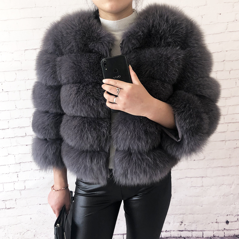 2019 new style real fur coat 100% natural fur jacket female winter warm leather fox fur coat high quality fur vest Free shipping 27