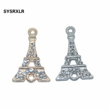 10 PCS Rose Gold/Sliver Crystal Eiffel Tower Connector for Jewelry Making Earrings Accessories Findings DIY Bracelet Necklace 2 feet passive crystal sliver 18 pcs