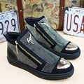 Новый 2017 мужская мода заклепки abkle сапоги езда сапоги подлинной кожа плоские ботинки классные ребята хип-хоп обувь размер 38-43