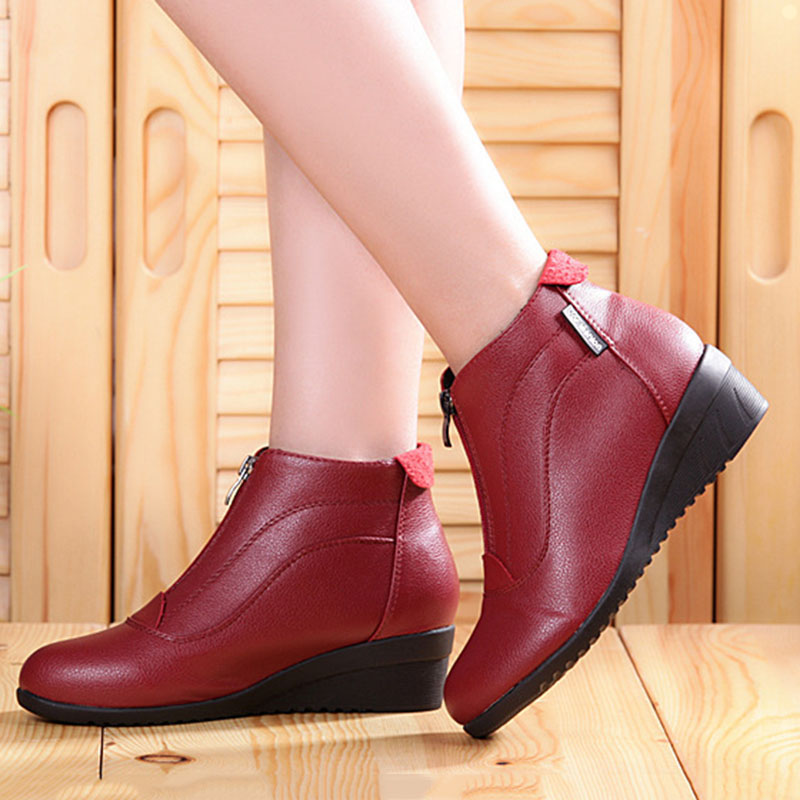 Women Boots 2018 Winter Shoes Woman Soft Leather Ankle Botas Mujer Casual Autumn Wedges Heels Booties Female цена 2017
