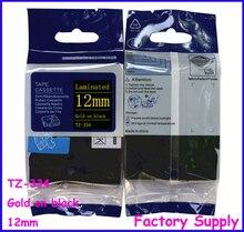 Tze334 tze-334 tz tze 334 tz334 tz-334 для brother принтер этикеток Кассеты 12 мм p-touch Этикетка Ленты Золото на Черном Этикет-Лента