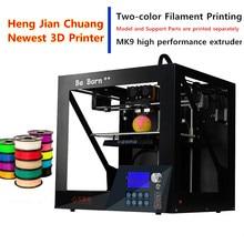 2017 Высокая Точность Два-Цветная Печать 3D Принтер Высокая Производительность MK9 Экструдер Большой ЖК-Экран 3D Принтер Нити Бесплатно доставка