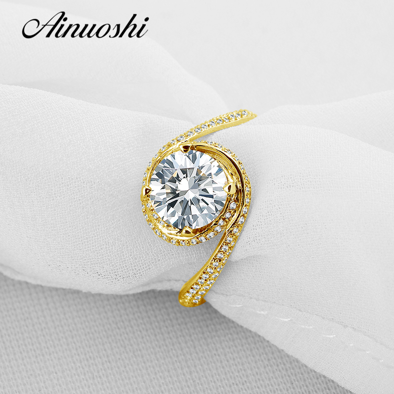 все цены на AINUOSHI 10k Solid Yellow Gold Wedding Rings Set 1 ct Trendy Round Cut Simulated Diamond Joyas de oro 10k Women Wedding Ring Set онлайн