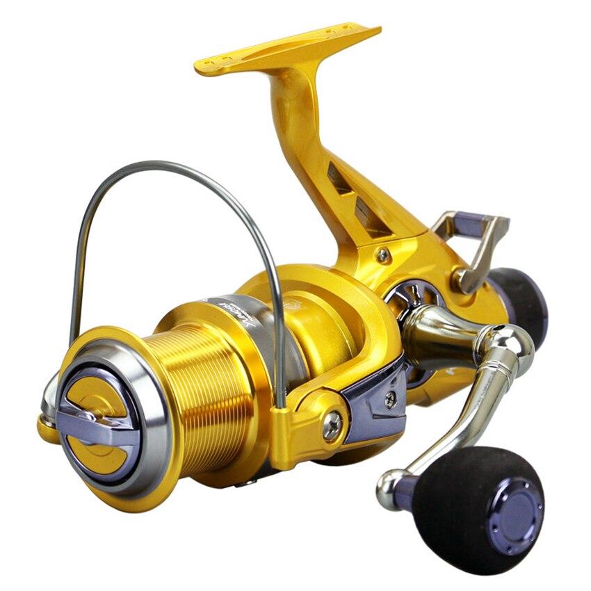 цена на Fishing Reel Spinning Reel Coils Double Drag System Metal Spool Long Casting Carp Fishing Wheel For Fishing 5.2:1 Series