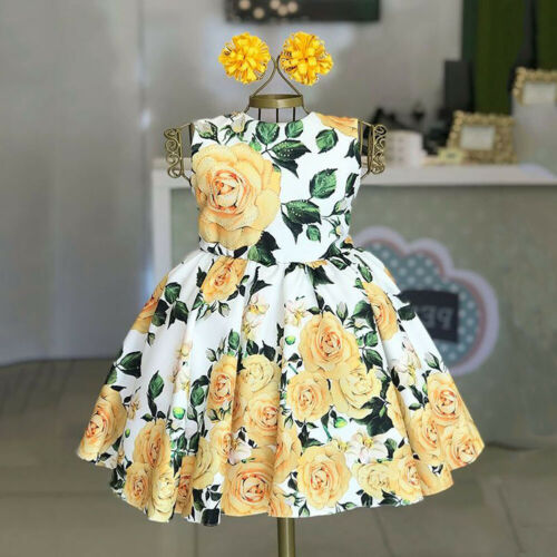 Цельнокроеные повседневные платья с цветами для маленьких девочек на день рождения, 2019