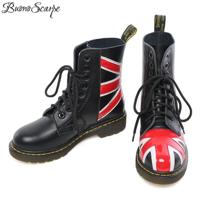 Ayakk.'ten Ayak Bileği Çizmeler'de Buono Scarpe 2019 Çizmeler Kadın Hakiki deri ayakkabı Şerit Dikiş Serseri Çizmeler Ayakkabı Kadın Rahat Botas Mujer Kadın yarım çizmeler'da  Grup 3