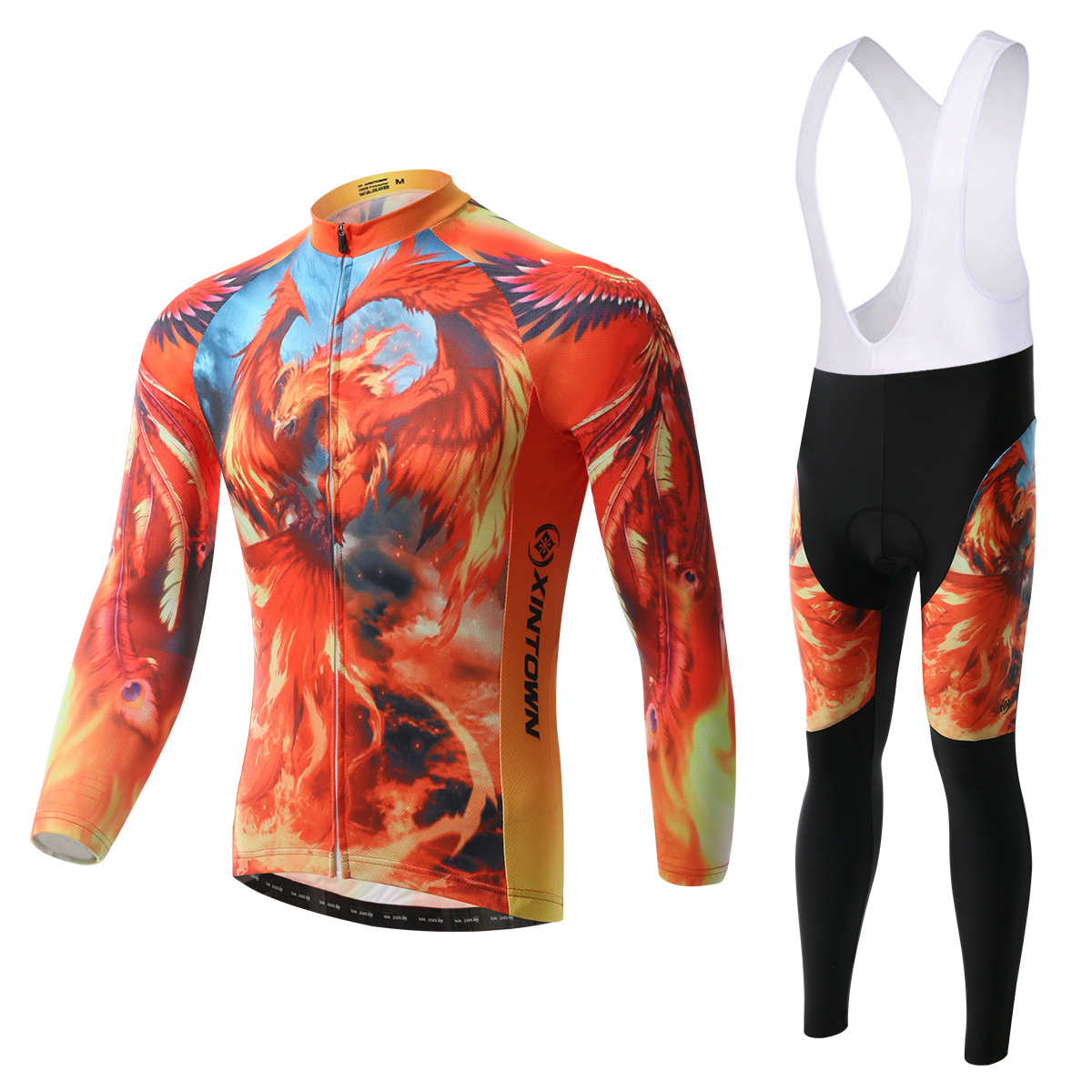 XINTOWN Phoenix bike riding jersey strap long-sleeved suit wear bicycle suits fleece wind warm functional underwear