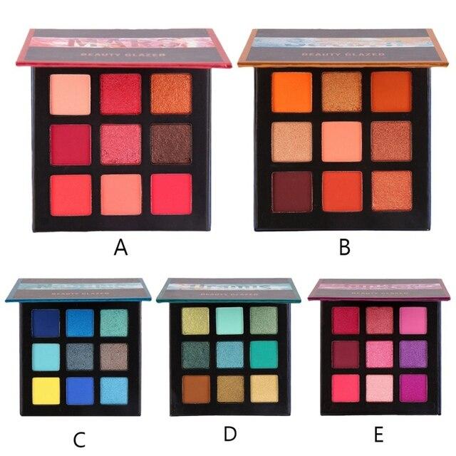 Belleza de cristal 9 Color maquillaje paleta de sombra de ojos maquillaje pinceles/brochas paleta brillo pigmentada de sombra de ojos