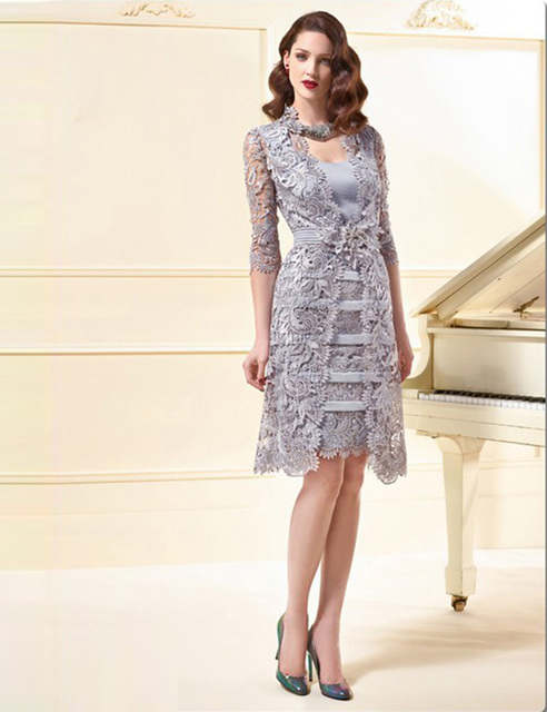 Real Hot Lace 3/4 Sleeve Short Mother Of The Bride Dresses With Lace Jacket Knee-Length Formal Robe De Soiree Mother Dress MD31