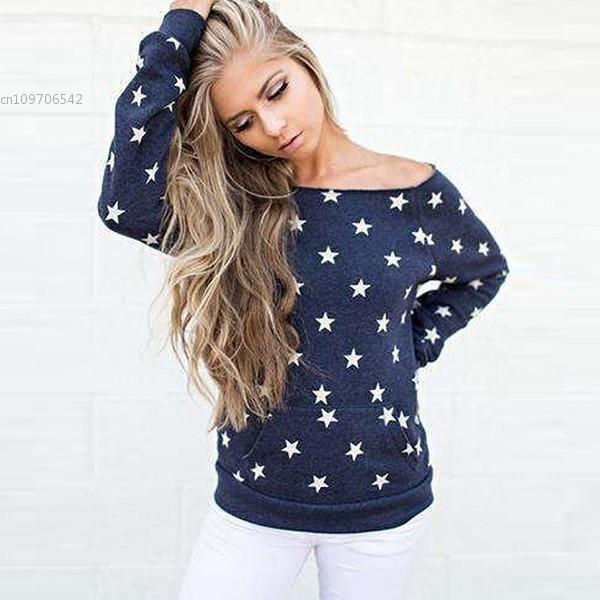 Novas Mulheres de Slash Long Neck Sleeve Impressão Estrela da Moda Camisola