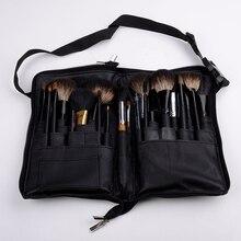 Durable 32pcs Soft Makeup Brushes Leather Case Black Cosmetic Make Up Brush Pockets (No brushes)