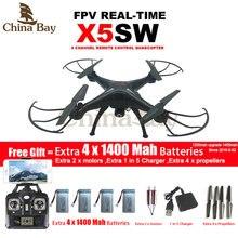 Syma x5sw/x5sw-1 wi-fi drone мультикоптер с fpv камеры обезглавленный 6-осевой Реального Времени Вертолет Quad вертолет С 5 батареи