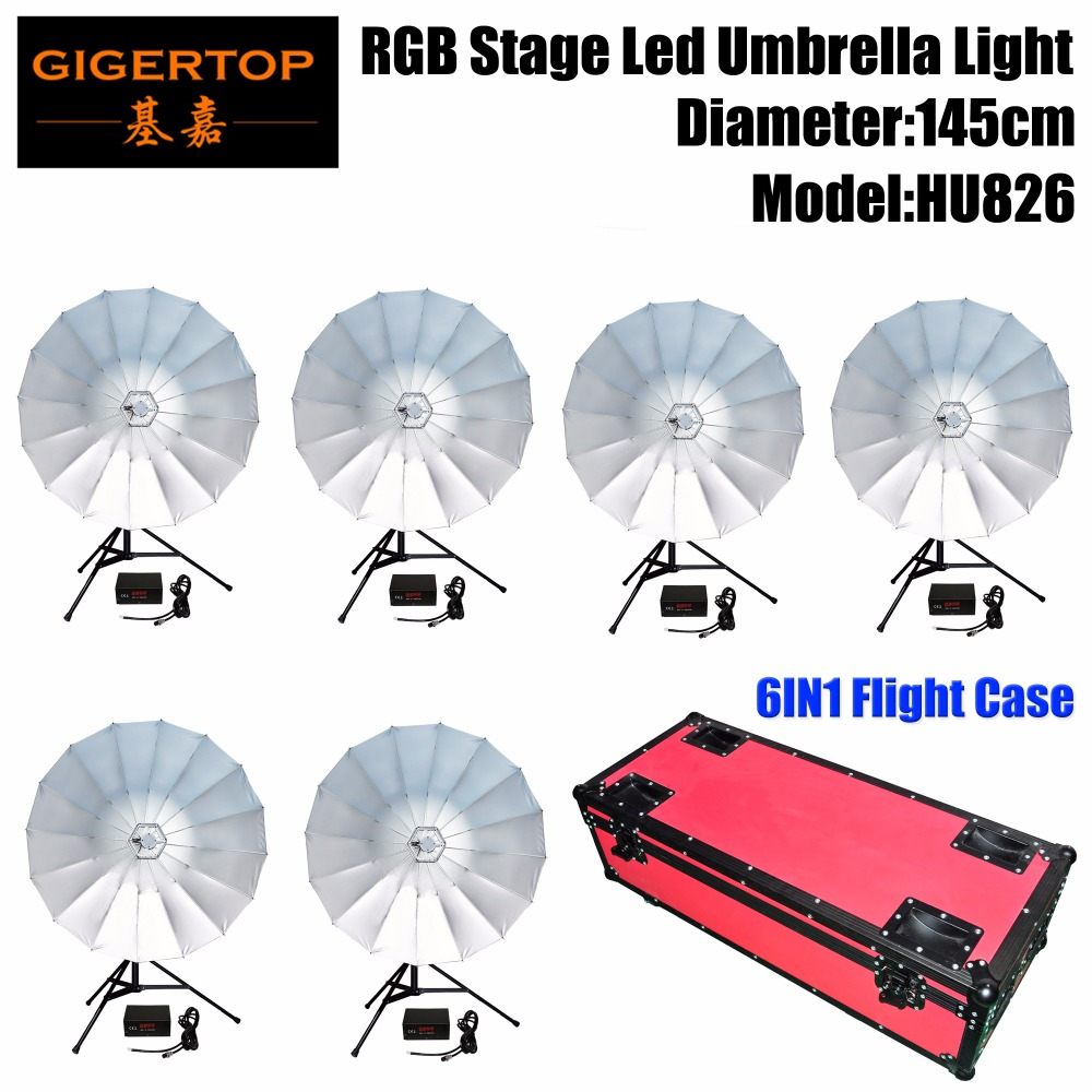 Gigertop 145CM Wide DMX LED RGB Umbrella Stage Light 6/24 Channels Dual Hanging Clamp Aluminum Leds Bracket Wide Shine Roadcase