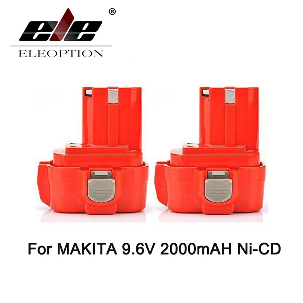 ELEOPTION 2PCS 9.6V 9.6 VOLT 2000mAh Rechargeable Power Tool Battery for MAKITA 9100 9101 9102 2.0AH Power Tool Free Shipping стоимость