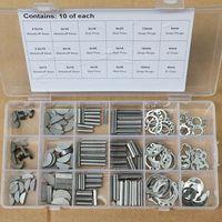 18 Kinds Woodruff Keys Stainless Steel Snap Ring Roll Pin E Clip Assortment Kit