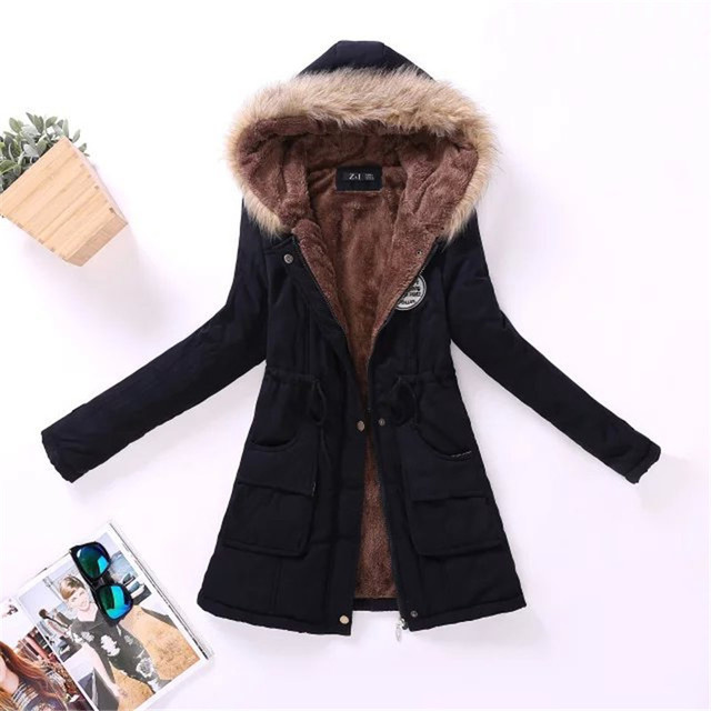 2018 winter ladies casual hooded plus velvet thick warm fur collar cotton-padded jacke coat / Women's parkas wool wadded jacket 2