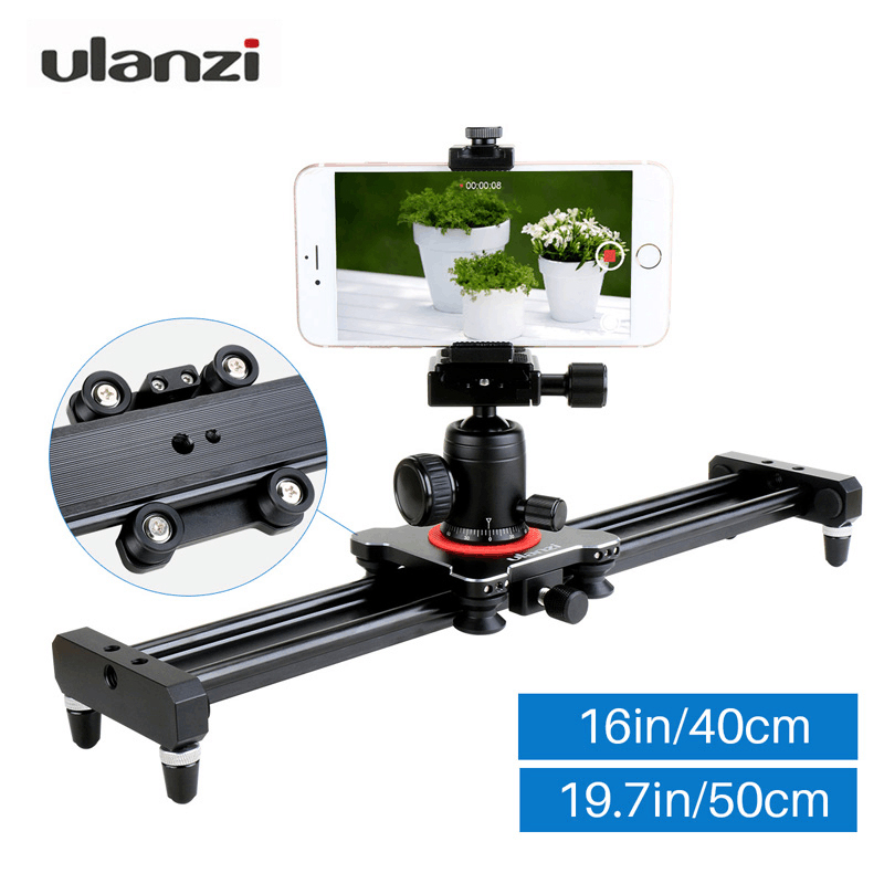 Ulanzi Camera Slider Aluminum Alloy Video Track Slider in Video Shooting Rail Stabilization System for iPhone Canon Nikon DSLR fotomate lp 02 200mm movable 2 way macro focusing rail slider black