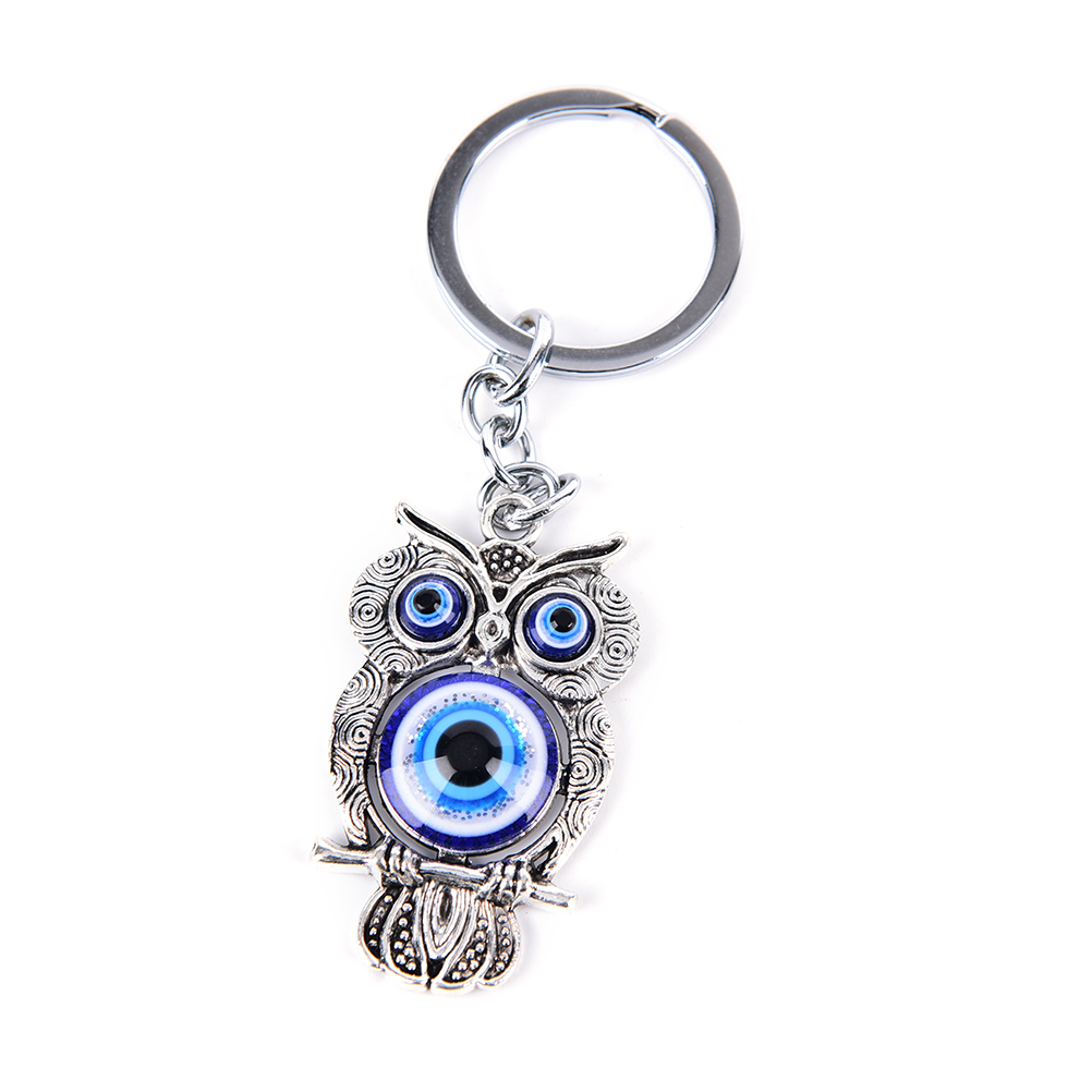 Dashing 1pcs/lot Blue Eye Owl Lucky Charm Protection Tassel Hanger Crystals Car Feng Shui Keychain Fashion Jewelry Key Chains