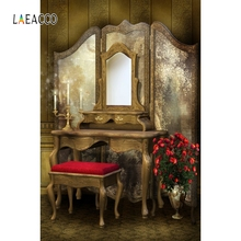 Laeacco Princess Backdrops Dreamy Curtain Mirror Potted Flower Table Customized Photographic For Photo Studio