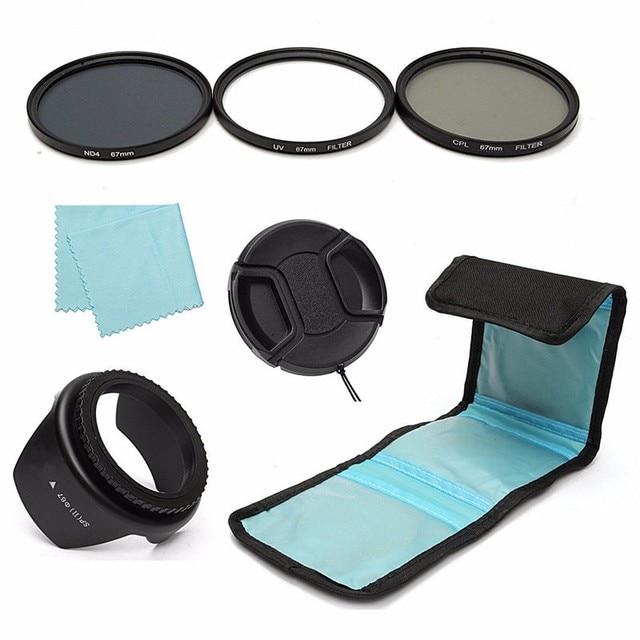 67mm UV CPL Circular Polarizing ND4 Lens Filter Kit Hood For Canon For Sony For Nikon slr DSLR Import Optics Glass Resin