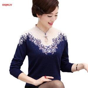 Image 1 - Suéter de Cachemira con cuello en V para mujer, jerséis para madre de mediana edad, abrigo de punto fino a la moda, blusa para mujer, prendas de punto de talla grande W1085