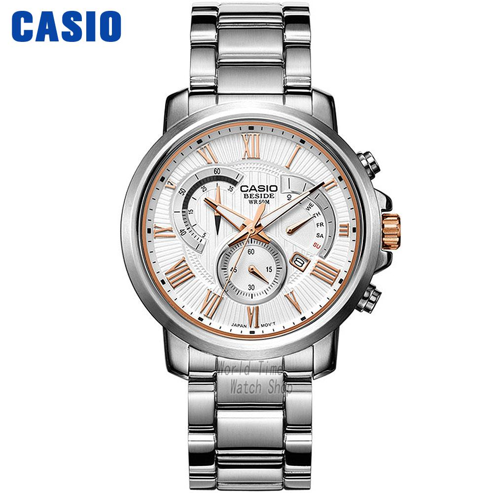Casio watch Men's quartz business men's watch waterproof watch BEM-506BD-7A BEM-506CD-1A striped rib insert button up denim jacket