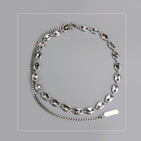White Gold Pig Nose clavicle chain Layered Necklace choker Jewelry Korea Necklace White gold Neckless