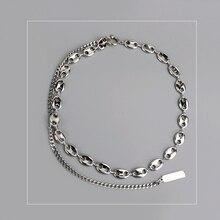 White Gold Pig Nose clavicle chain Layered Necklace choker Jewelry Korea Necklace White gold Neckless stylish wave layered choker