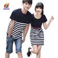 Hot Coreano Casais Roupas de Férias de Lua de mel Desgaste do Verão Casual Tops T-Shirt de Algodão Listrado Camisas de T Para Os Amantes de Casal Correspondência