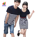 Hot Korean Couples Clothes Honeymoon Holiday Wear Summer Casual Tops Striped Cotton T-Shirt Matching Couple T Shirts For Lovers