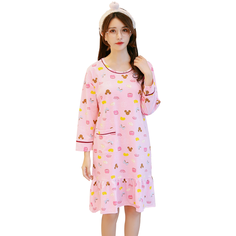 9b3bdd6d4e Detail Feedback Questions about New Spring and autumn Fashion Women  Nightgowns long sleeve Cotton Dress Cute Girls Sleepwear warm Nightdress  Indoor Clothing ...
