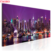5D DIY Diamond Painting New York city night view Full Square Drill Embroidery landscape 3d pictures Cross Stitch Mosaic Decor