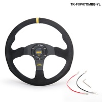 Tanksy 14inch 350mm OM Racing Steering Wheel Auto Steering Wheel Suede Leather Steering Wheel TK FXP07OMBB