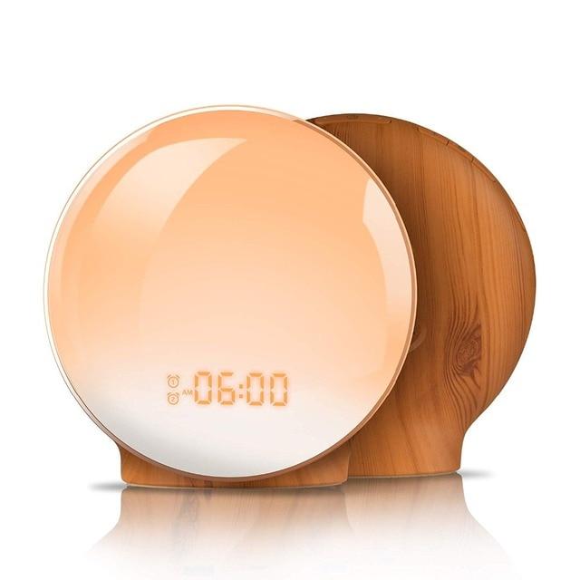 TITIROBA Digital Snooze Function Alarm Clock New Wake up light Clock Sunrise Sunset Light FM Function Alarm Clock for Daily Life