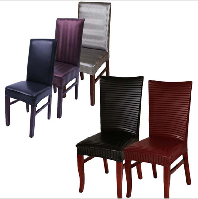 Leather Pu Spandex Stretch Dining Chair Covers Machine Washable Restaurant For Weddings Banquet Hotel Room